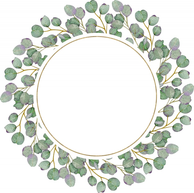Couronne d'eucalyptus ronde rustique sur le mur blanc. illustration aquarelle dessinée à la main.