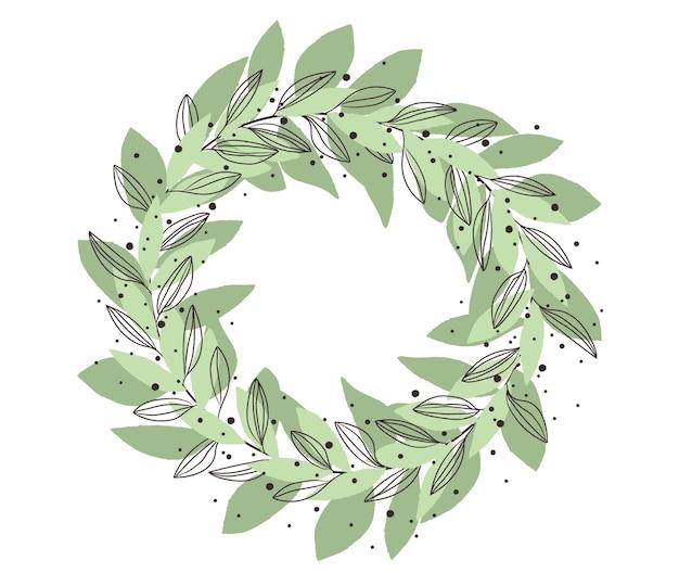 Couronne de feuilles aquarelle