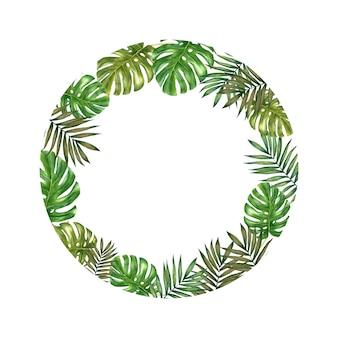 Couronne de feuilles tropicales aquarelle sur fond blanc.