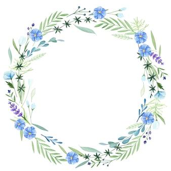 Couronne de fleurs à l'aquarelle. fleurs délicates. bordure ronde
