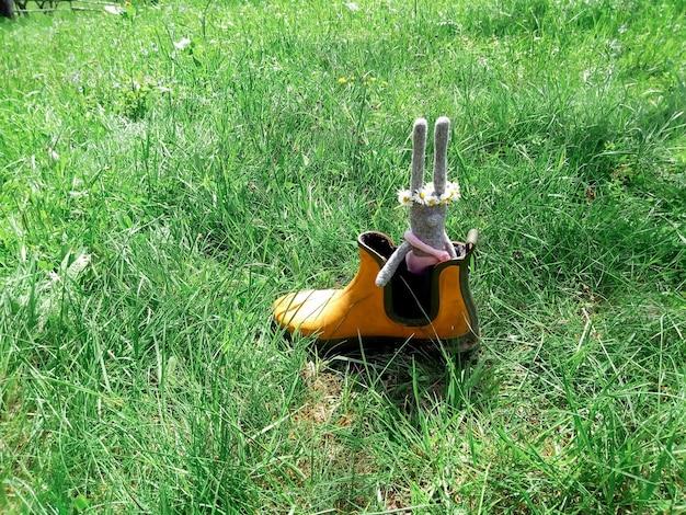 Couronne de fleurs de marguerite jouet gris lapin sur la tête dans une botte de jardinage en caoutchouc comme dans l'herbe verte du bateau