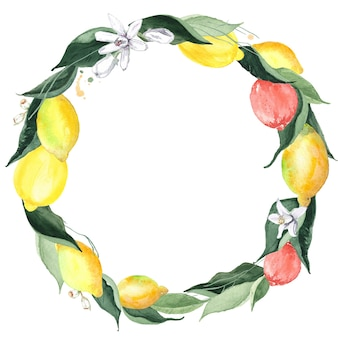 Couronne ronde décorative d'aquarelle avec des citrons, de la verdure et des fleurs d'isolement sur le blanc