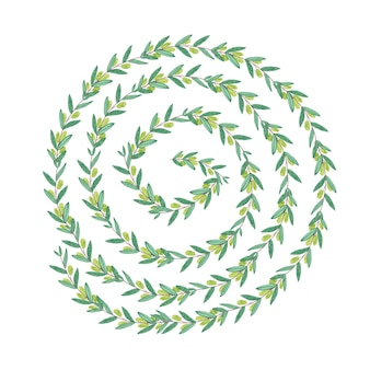 Couronne de tourbillon d'olive aquarelle. illustration isolée sur fond blanc. concept organique et naturel.
