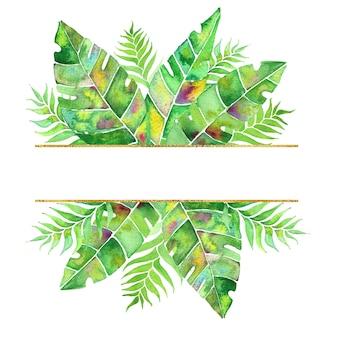 Couronne tropicale avec feuille de palmier et fleurs. arrangement d'aquarelle