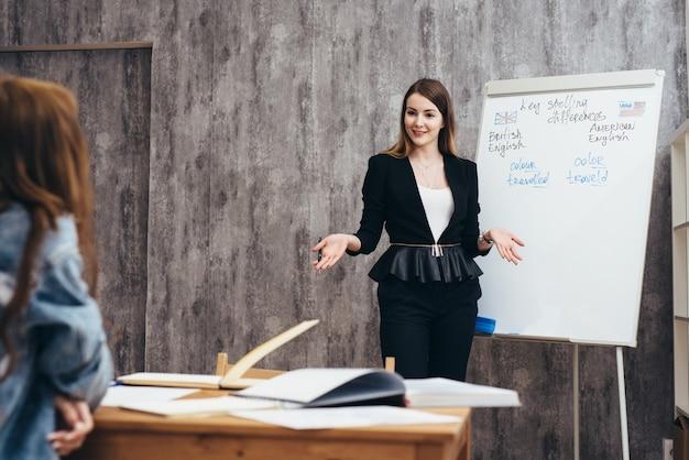 Cours d'anglais, professeur expliquant de nouveaux matériaux pendant que l'élève l'écoute.