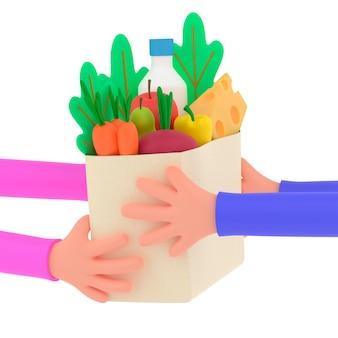 Coursier de livraison de nourriture remettant la commande