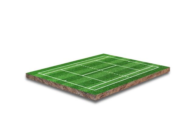 Court de tennis isolé sur fond blanc. herbe verte réaliste. rendu 3d