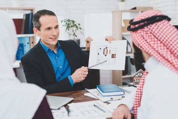 Courtier en hypothèques présentant des plans de maison.