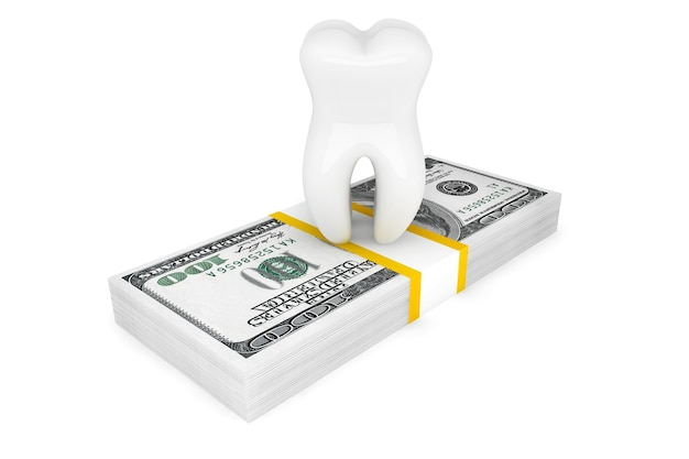 Coût du concept dentaire. dent avec de l'argent sur un fond blanc