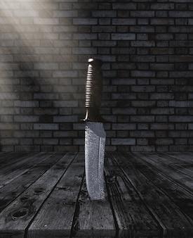 Couteau 3d collé dans une table en bois dans une salle de brique grunge