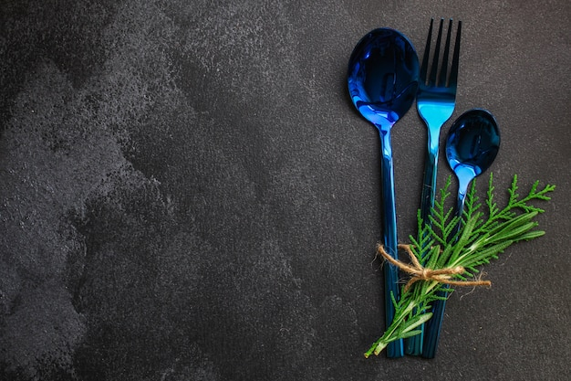 Coutellerie rustique, utilisée pour manger ou servir de la nourriture (cuillères, fourchette, brillante et belle)