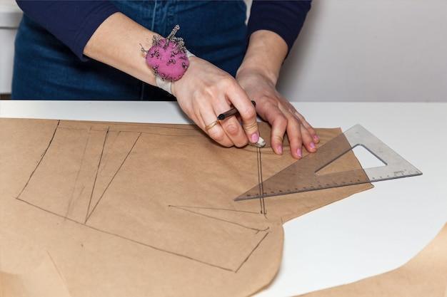 La couturière coupe le dessin d'une robe avec des ciseaux. développement de style et de design et création de vêtements, service de couture et de réparation de vêtements, concept de couturière au travail
