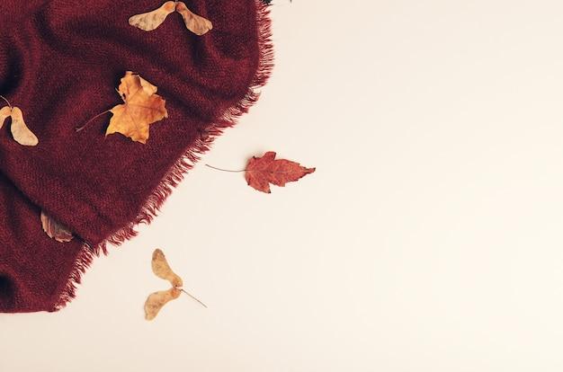 Couverture confortable chaude de bourgogne avec fond de feuilles d'érable sec.