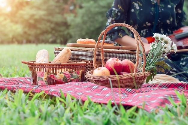 Couverture de pique-nique aux fruits et violon au jardin.