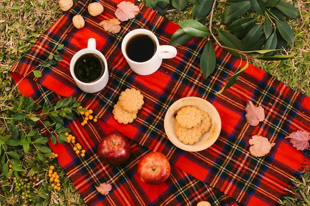 Couverture rouge avec du thé et des biscuits