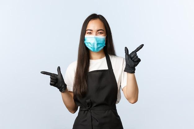 Covid-19, distanciation sociale, petite entreprise de café et prévention du concept de virus.