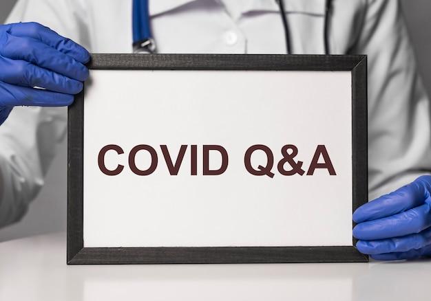 Covid q et un concept de texte coronavirus qna