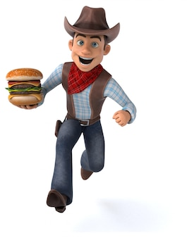 Cowboy amusant - illustration 3d