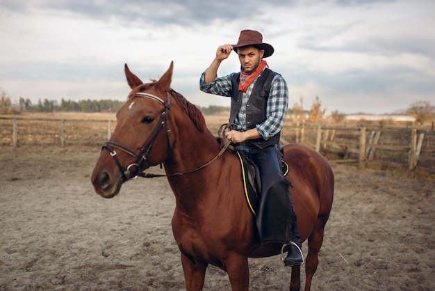 Cowboy à cheval dans un ranch, western