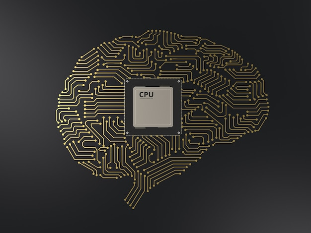 Cpu de rendu 3d avec cerveau de circuit ai