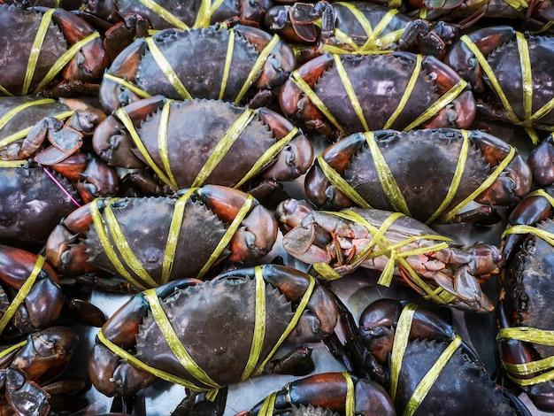 Crabe frais à vendre sur le marché.