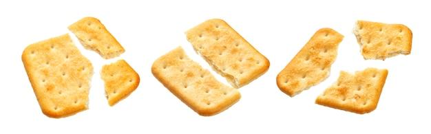 Cracker cassé, isolé, blanc