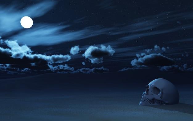 Crâne 3d partiellement enterré dans le sable contre le ciel nocturne