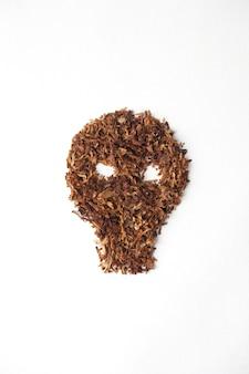 Crâne avec une cigarette sur fond blanc