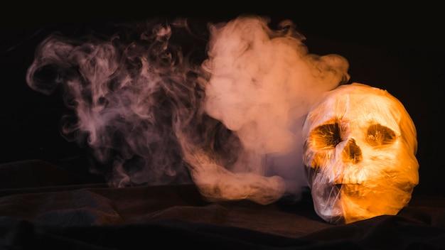 Crâne dans un sac en plastique et tourbillon de fumée