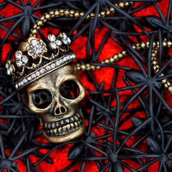 Crâne à décor d'araignées noires et de scarabées. fond d'halloween