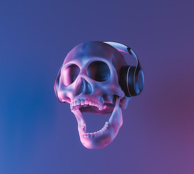 Crâne avec éclairage au néon et écouteurs