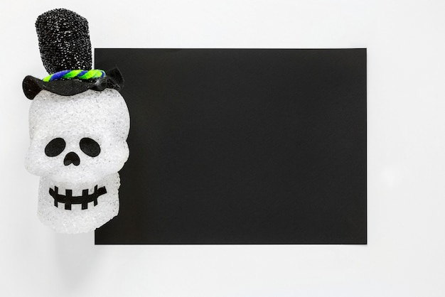 Crâne d'halloween effrayant vue de dessus