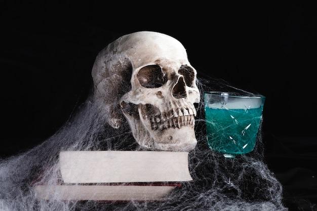 Crâne humain avec boisson et toile d'araignée