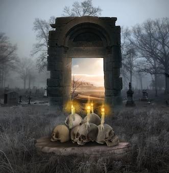 Crâne humain halloween avec bougie concept de rendu 3d halloween