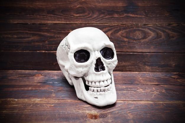 Crâne humain sur une surface de planche de bois sombre.