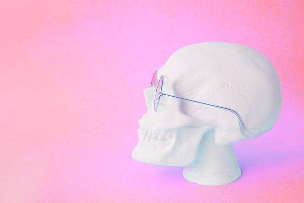 Crâne avec des lunettes rondes sur fond rose. copier l'espace