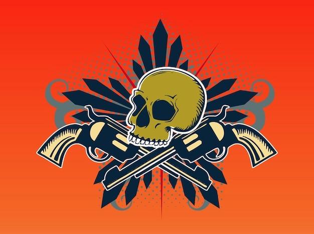 Crâne mort avec le baril vecteur de fusils