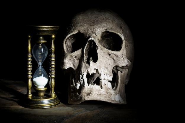 Crâne et sablier vintage