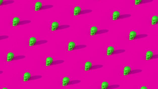 Crânes vert clair, fond rose. illustration abstraite,