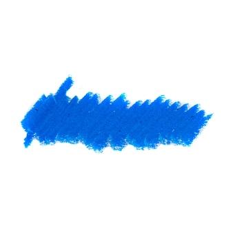 Crayon abstrait sur fond blanc. texture de gribouillis crayon bleu. tache pastel de cire.