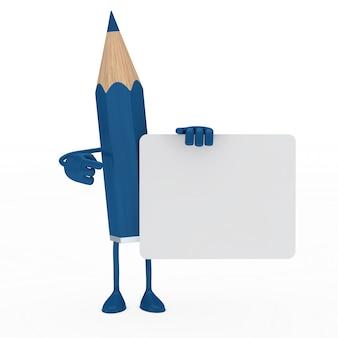 Crayon bleu posant avec une pancarte en blanc