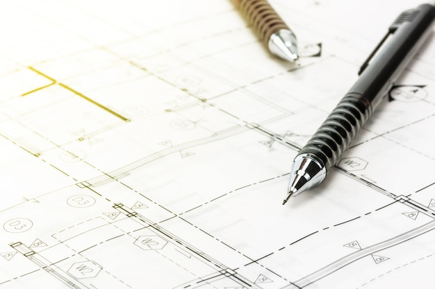 Crayon sur blueprint