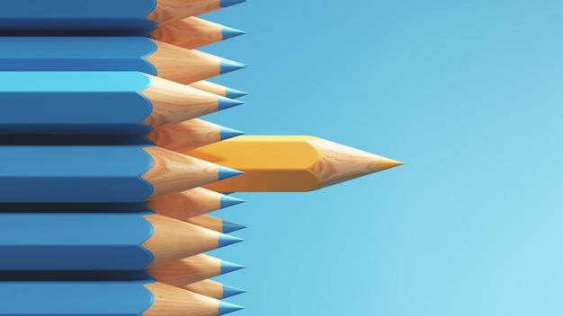 Crayon jaune exceptionnel parmi le crayon bleu