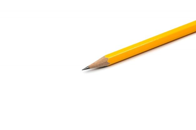 Crayon jaune isolé sur fond blanc
