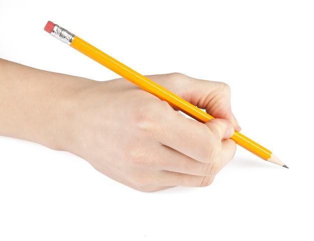 Crayon à la main isolé sur fond blanc