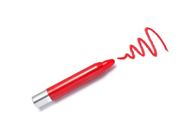 Crayon rouge à lèvres et coup isolé sur blanc