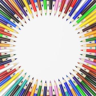 Crayons de couleur aléatoire dans un cercle, rendu 3d de qualité