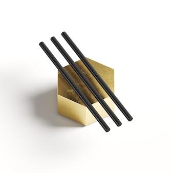 Crayons sur forme géométrique dorée