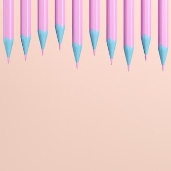 Crayons avec gommes sur pastel rose avec espace copie. rendu 3d