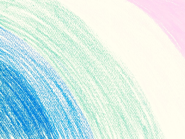 Crayons pastels de couleur bleu clair vert rose dessin minimal sur fond de papier blanc